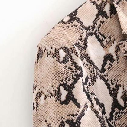 Snake Print Blazer Pockets Notched ..