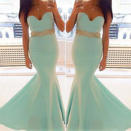 Strapless Mermaid Long Satin Prom D..