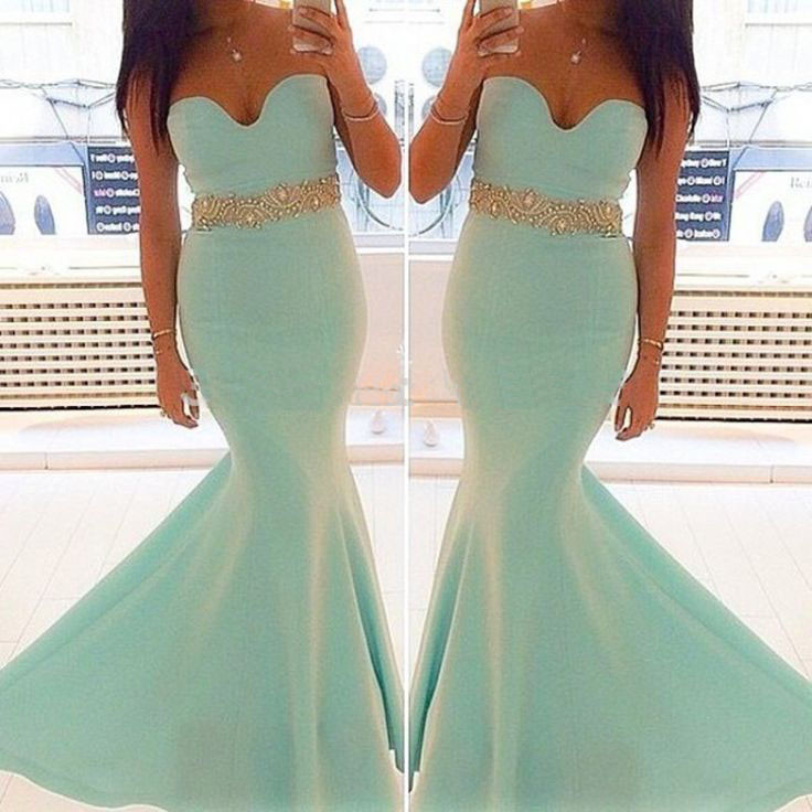 Strapless Mermaid Long Satin Prom Dress Beaded Floor Length Women Evening Dress