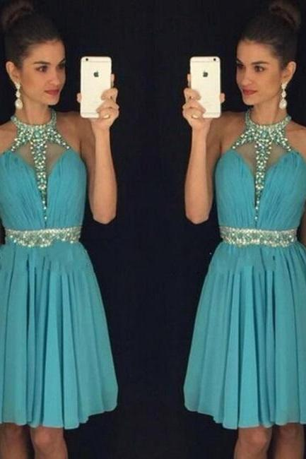Above Knee Length Women Prom Dresses Halter Neck Crystals Women Party Dresses 2017
