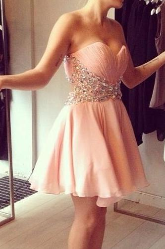 Sweetheart Neck Short Chiffon Prom Dresses Crystals Women Party Dresses