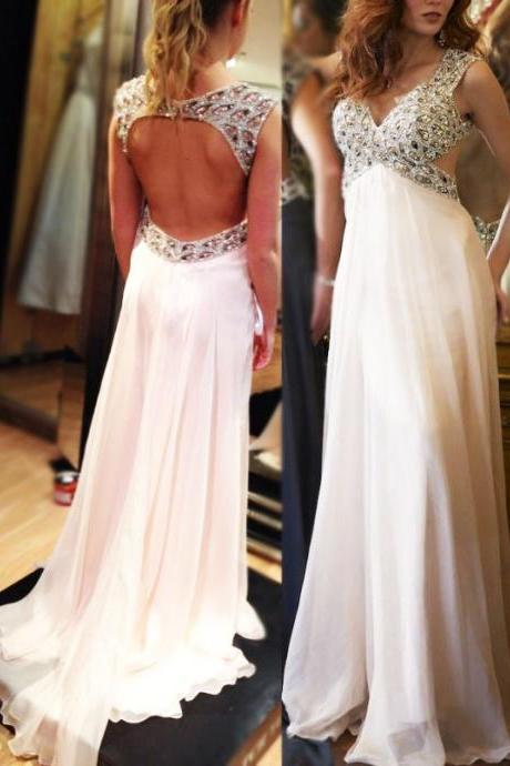 Open Back White Chiffon Prom Dresses Cap Sleeves Crystals Women Party Dresses