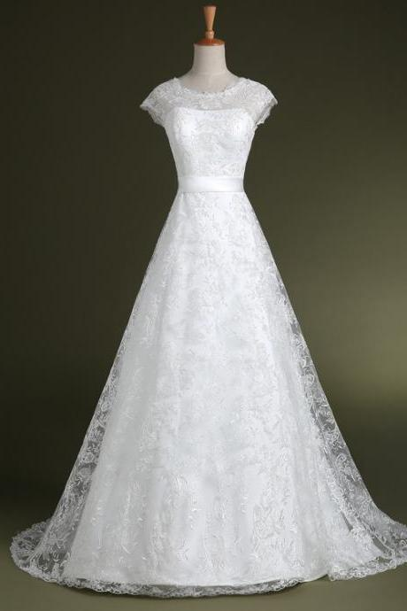 Cap Sleeved Lace A-line Wedding Dress Featuring Bow Accent