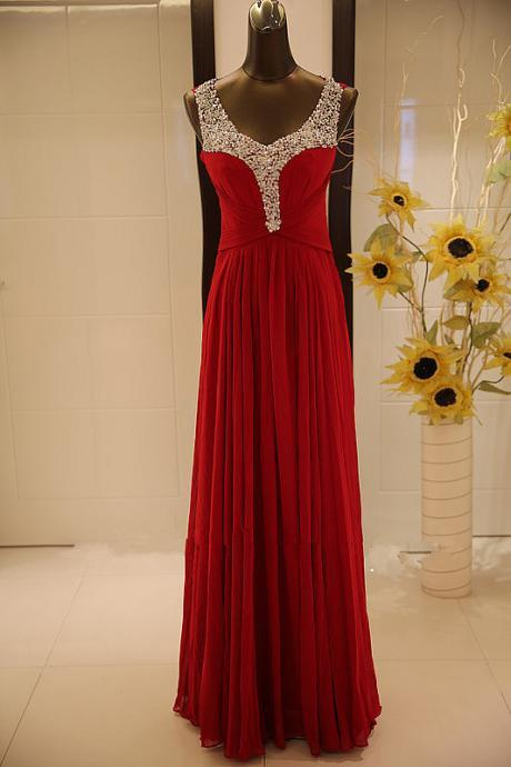 Scoop Neck Long Red Chiffon Prom Dresses Crystals Women Party Dresses