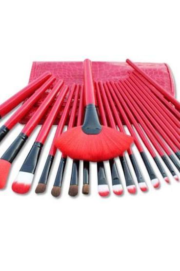 High Quality 24 wool makeup brushes set with bag