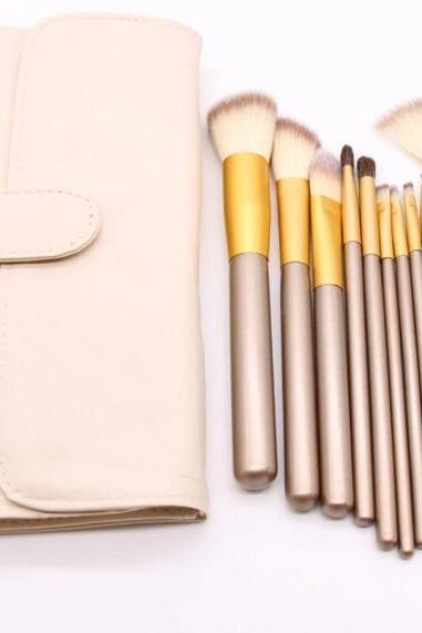High Quality 12 wool makeup brushes set with bag
