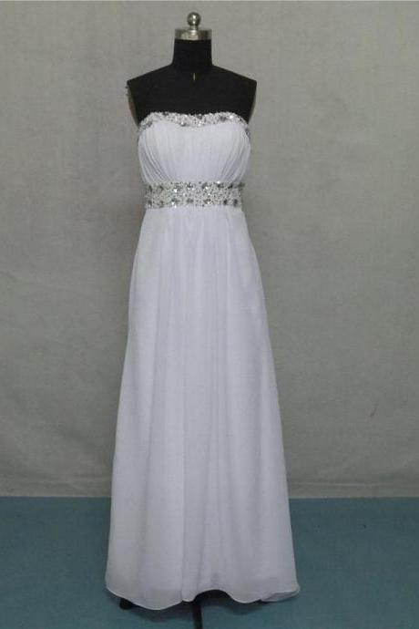 White Long Chiffon Prom Dresses Crystals Women Party Dresses