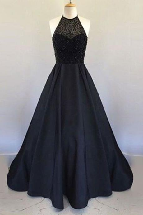 Long Black Satin Prom Dresses Halter Neck Beading Women Party Dresses