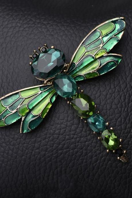 Dragonfly Brooch with crystals