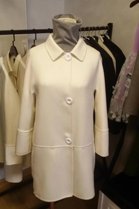 Ivory Single Beasted Women Wool Coat without lining