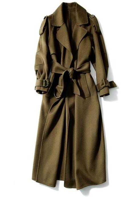 Long Women Wool Coat without lining