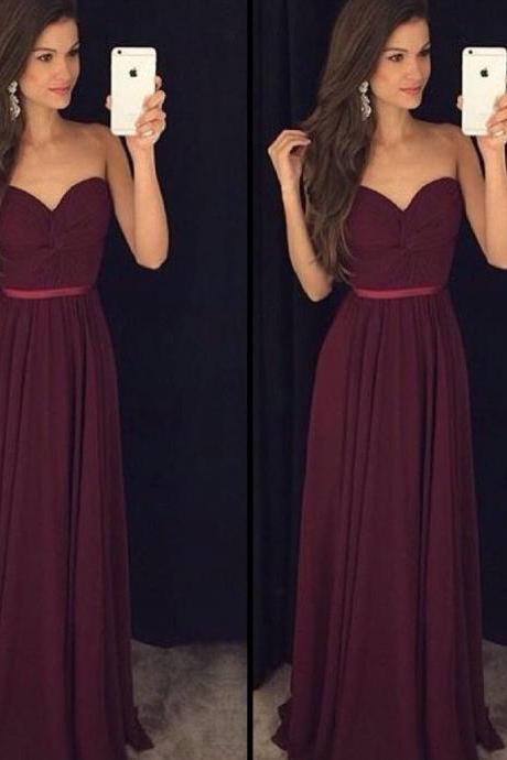 Chiffon Ruched Sweetheart Floor Length A-Line Prom Dress Featuring Belt, Formal Dress, Bridesmaid Dress