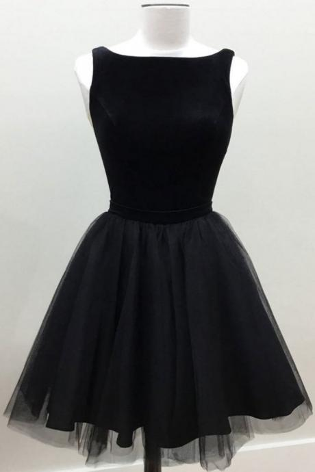 Scoop neck Above knee Mini Black Tulle Homecoming Dress
