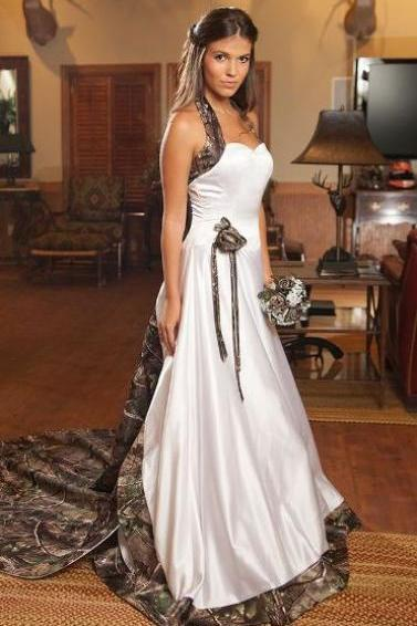 Women's A-line Satin Printed Plant Wedding Dress Straps Long Bridal Gowns