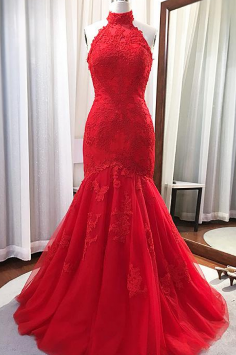 halter Neck Mermaid Tulle Prom Dress Lace Appliques Women Dress