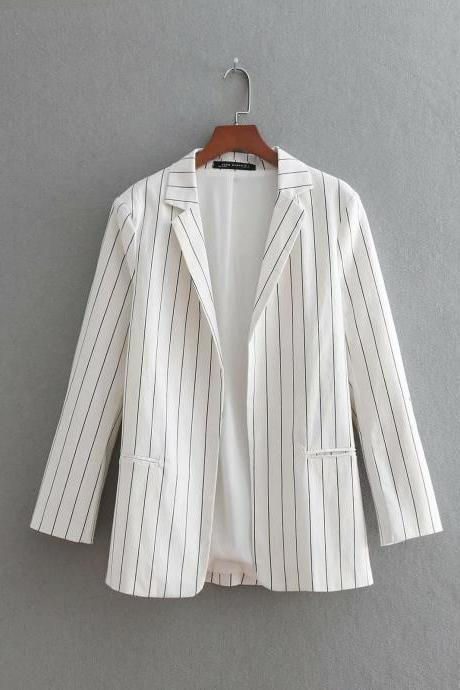 White Fashion Stripe Women Blazer