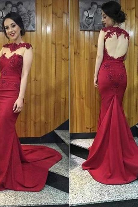Sexy Mermaid Red Prom Dress Hollow Back lace Appliques Women Evening Dress 2019