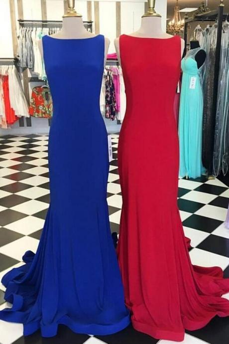 Scoop Neck Sheath long Chiffon Prom Dress Floor Length Women Evening Dress 2019