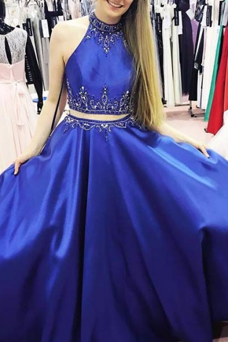 2 Pieces A-line Royal Blue Satin Prom Dress Beaded Floor Length Women Evening Dress 2019