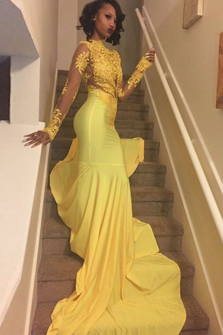 Long Sleeves Mermaid Yellow Prom Dress Lace Appliques Fashion Women Evening Dress 2019