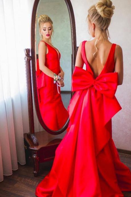 Open Back Long Red Satin Prom Dress Floor Length Women Evening Dress 2019