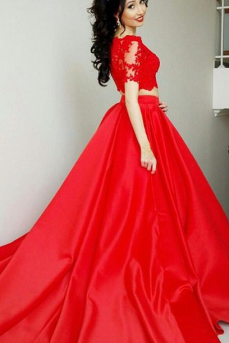 short Sleeves A-line Red Satin Prom Dress 2 pieces Lace appliques Women Evening Dress