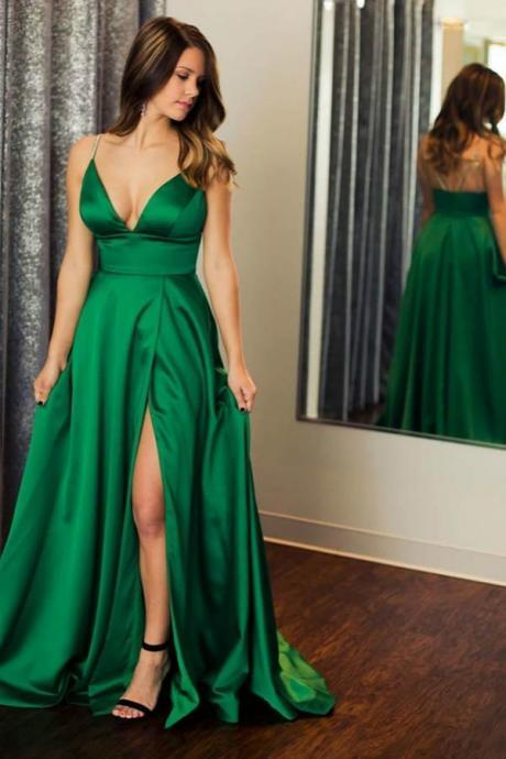 High Slit Long Green Satin Prom Dress Spaghetti Straps V Neck Floor Length Women Evening Dress 2019
