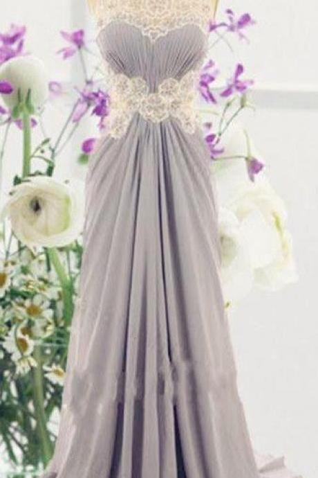 Light Grey Chiffon Prom Dresses Scoop Neck Lace Pleat Party Dresses Floor Length Long Women Dresses Tailor Made
