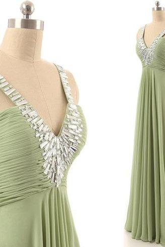 Chiffon Prom Dresses A-line Crystals beaded Floor Length Party Dresses Charming Formal Dresses