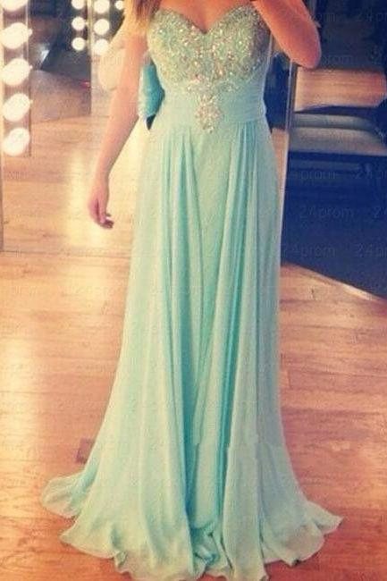 Sweetheart Chiffon Prom Dresses Floor Length Crystals Party Dresses Custom Made Women Dresses