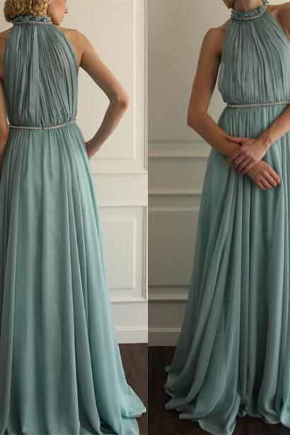 Halter Neck Long Chiffon Prom Dresses Charming Pleat Party Dresses Tailor Women Dresses