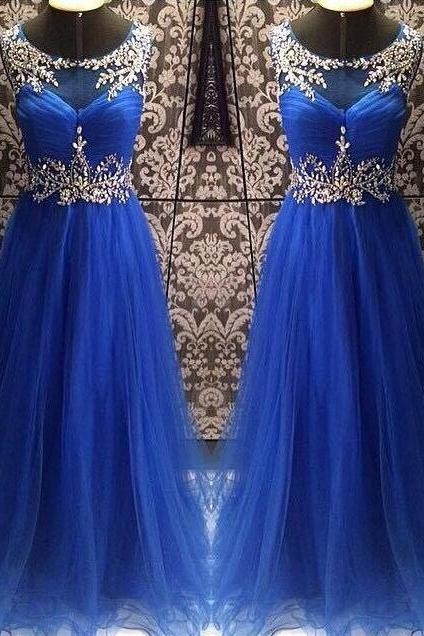 Scoop Neck Tulle Prom Dresses Scoop Neck Long Tulle Prom Dresses Crystals Beaded Party Dresses Fashion Women Dresses