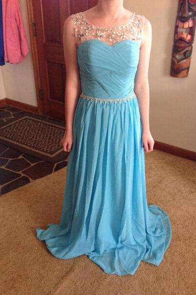 Scoop Neck Long Chiffon Prom Dresses Crystals Beaded Floor Length Pleat Party dresses Custom Made Women Dresses