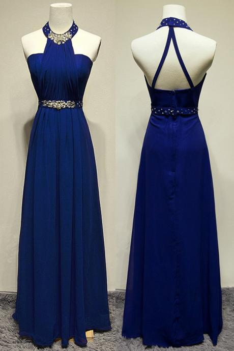 2016 Royal Blue Halter Neck Long Chiffon Prom Dresses Crystals Floor Length Beaded Party Dresses Custom Made Women Dresses