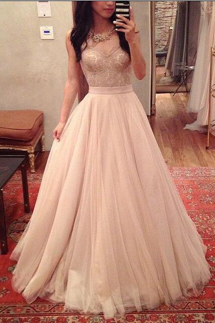 Sweetheart Neck Long Tulle Prom Dresses Lace Appliques Floor Length Party Dresses Custom Made 2016