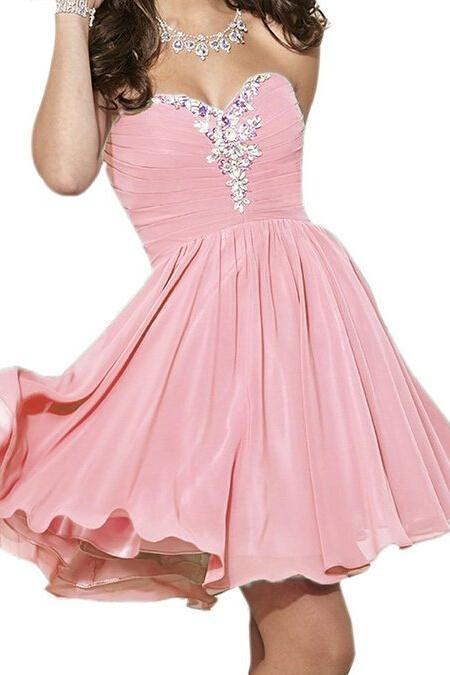 Short Chiffon Homecoming Dresses 2016 Sweetheart Neck Crystals Beaded Party Dresses Custom Made Party Dresses