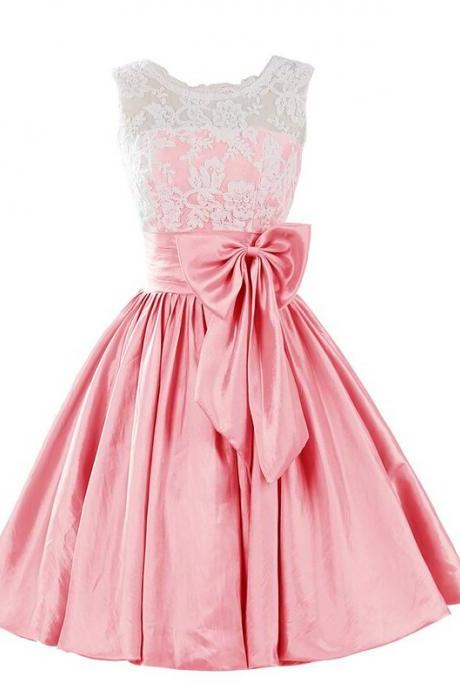 Scoop Neck Short Satin Homecoming Dresses Lace Appliques with Bow Lovely Party Dresses Custom Made 2016