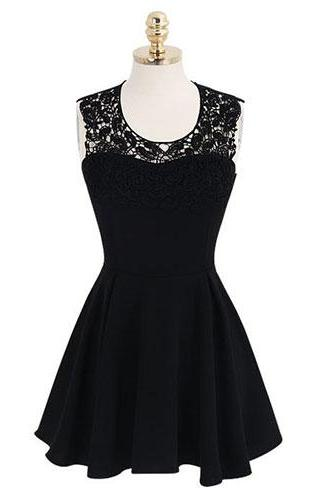 Short Black Chiffon Homecoming Dresses Scoop Neck Lace Party Dresses Custom Made Women Dresses