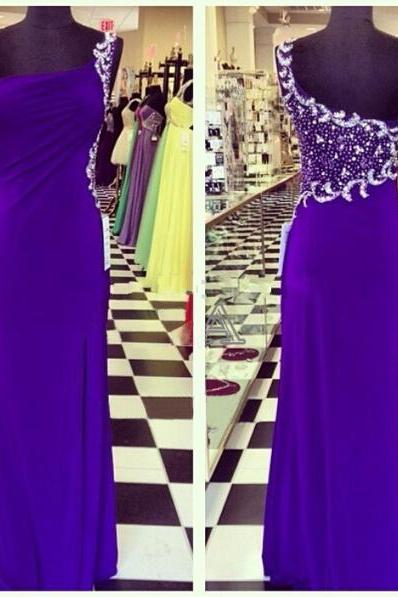 Purple Long Chiffon Prom Dresses One Shoulder Crystals Beaded Floor Length Party Dress Custom Made Women Dresses 2016