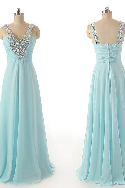Charming Long Chiffon Prom Dresses V-neck Crystals Beaded Floor Length Party Dresses Custom Made Party Dresses