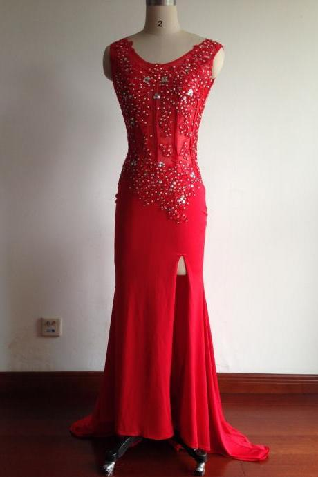 Red Long Chiffon Prom Dresses 2016 Scoop neck Crystals Floor Length Party Dresses Custom Made