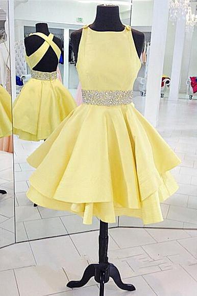 Short Satin Homecoming Dresses Crystals Beaded Lovely Mini party Dresses Custom Made Women Dresses 2016