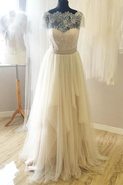 Charming Long tulle Prom Dresses Cap Sleeve Party Dresses 2016 Custom Made