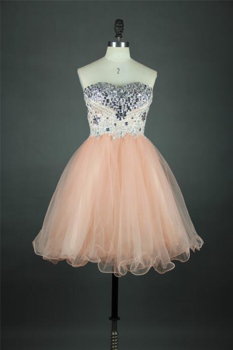 Sweetheart Neck Short Tulle Homecoming Dresses 2016 Crystals Beaded Party Dresses Custom Made Women Dresses
