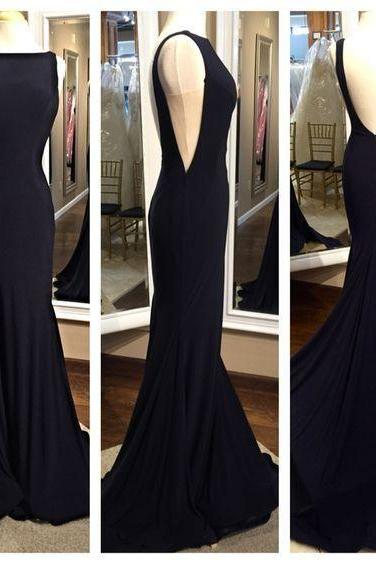 Open Back Mermaid Chiffon Prom Dresses Scoop Neck Long Chiffon Party Dresses Floor Length Women Dresses