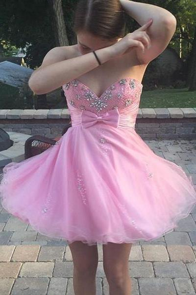 Short Tulle Homecoming Dresses 2016 Sweetheart Neck Crystals Pleat Party Dresses Custom Made Women Dresses