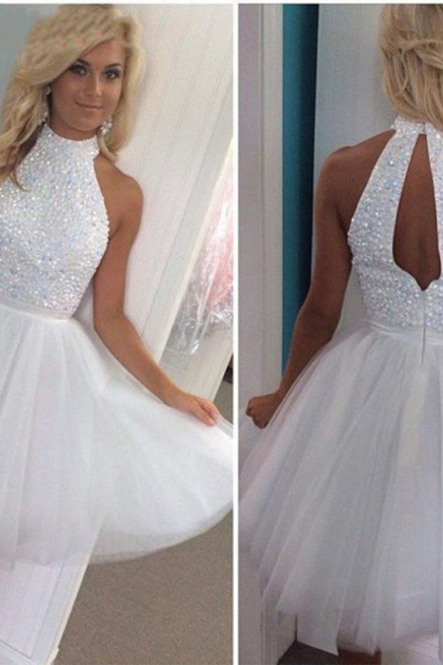 Halter Neck Short Tulle Homecoming Dresses with Beads White Mini party Dresses