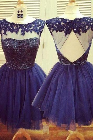 Short Tulle Homecoming Dresses 2016 Scoop Neck Crystals Pleat Party Dresses Custom Made Women Dresses