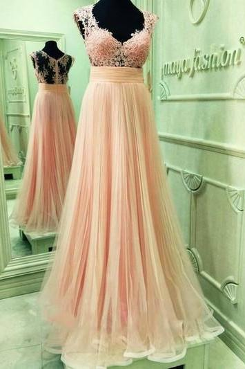 Long tulle Prom Dresses Sweetheart Neck Pleat Floor Length Party Dresses 2016 Lace Appliques Women Dresses