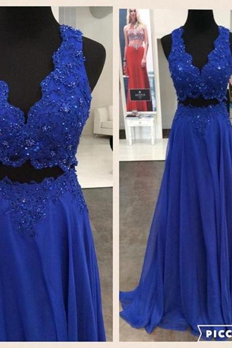 Two Parts Long Chiffon Prom Dresses with Lace Appliques Floor Length Party Dresses 2016